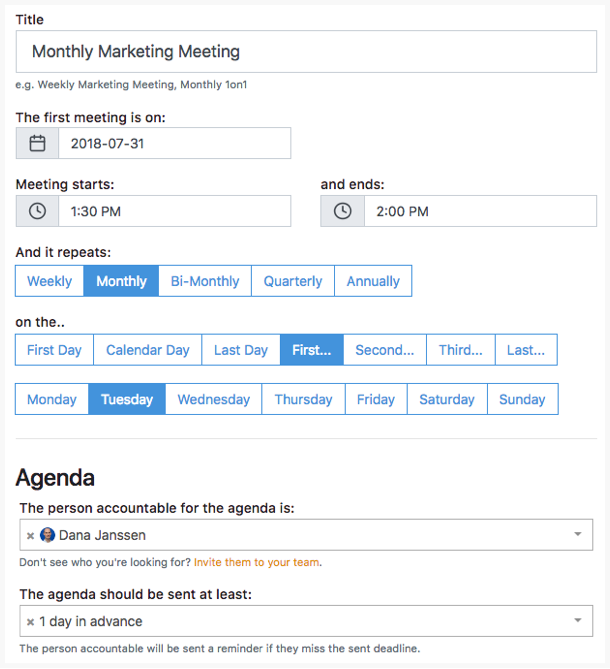 Tadum screenshot: Define your meeting rhythm and the person accountable for the agenda