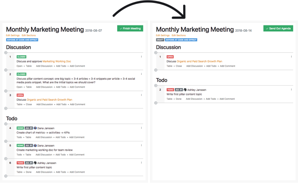 Tadum screenshot: Automatically generate the next agenda using open items from your last meeting